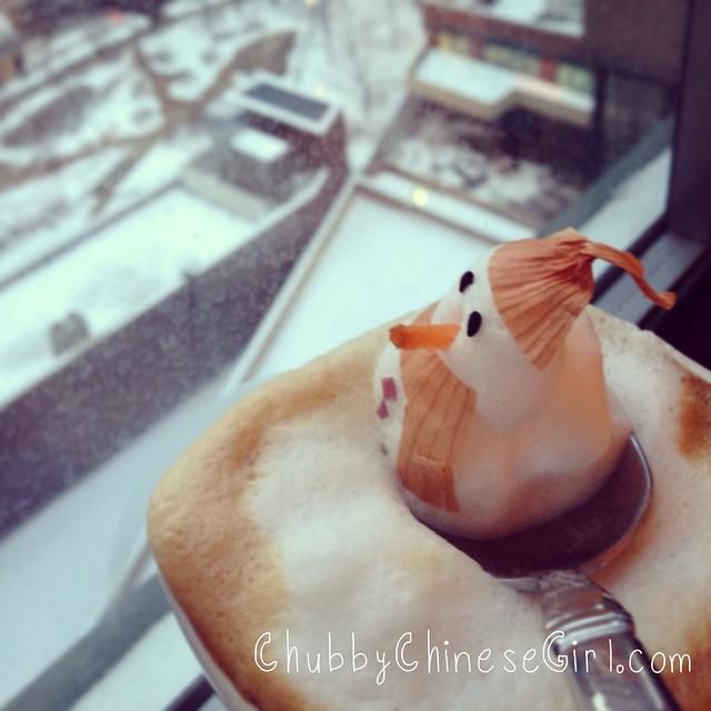 snowman 3D latte art - chubbychinesegirl 3