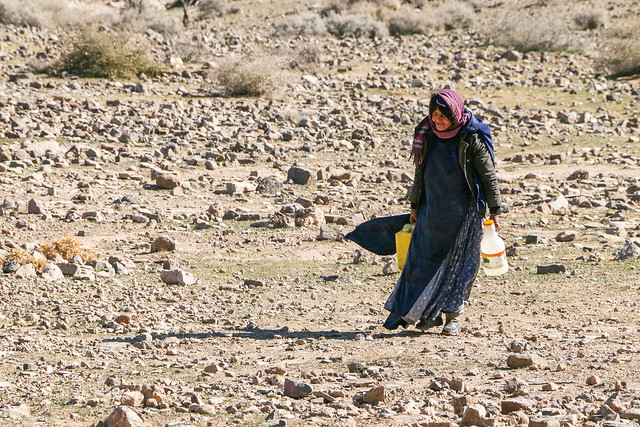 A qashqai woman walking in the field, Firuzabad, Iran フィールーズ・アーバード、荒野を歩くカシュガイ族女性