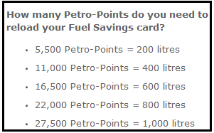 Fuel Savings Redemption Values