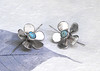 Spring flowers beautiful silver earrings with genuine Persian turquiose gemstones