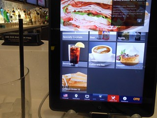 iPad in airport bar - menu
