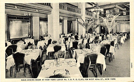 Elks Lodge No. 1/ Hotel Diplomat, NYC, NY (Main Dining Room)