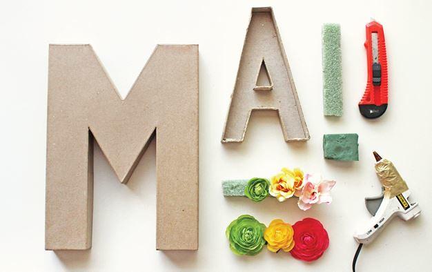 letras decorativas con flores