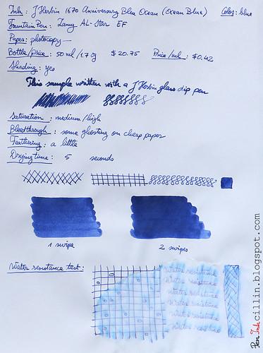 J Herbin 1670 Anniversary Bleu Ocean on photocopy