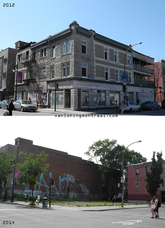 Before / After : Greystone building on Ste-Catherine (Village)
