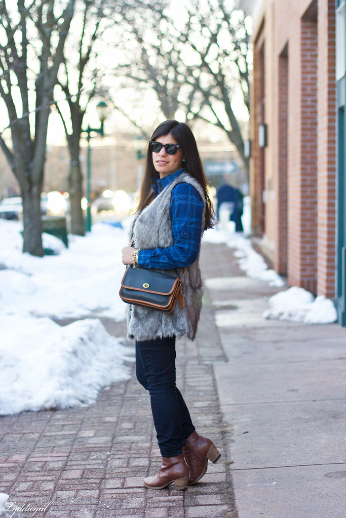 blue plaid shirt, fur vest, coach bag-2.jpg