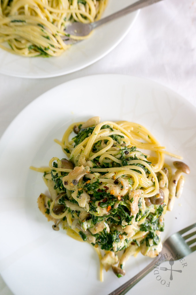Creamy Spinach and Mushrooms Pasta
