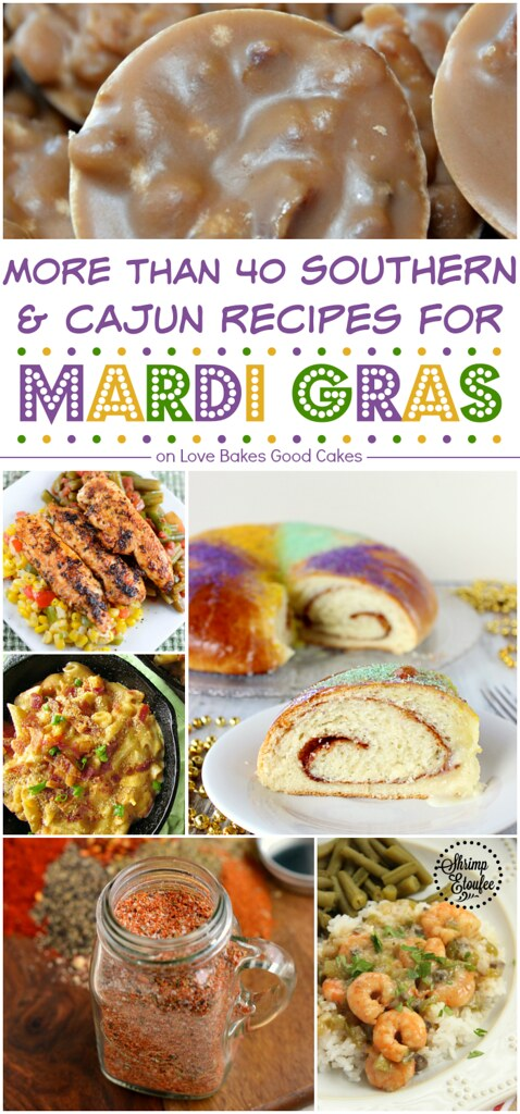 More than 40 Southern & Cajun recipes for Mardi Gras collage.
