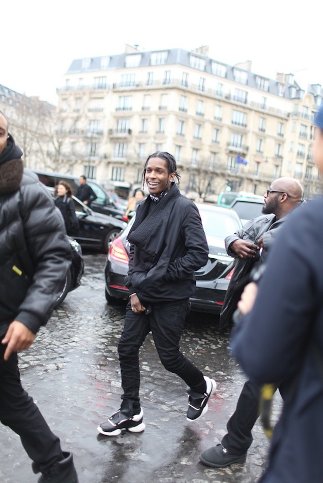 ASAP-Rocky-wears-Rick-Owens-for-Adidas-running-black-white-runway-sneakers-shoes-2