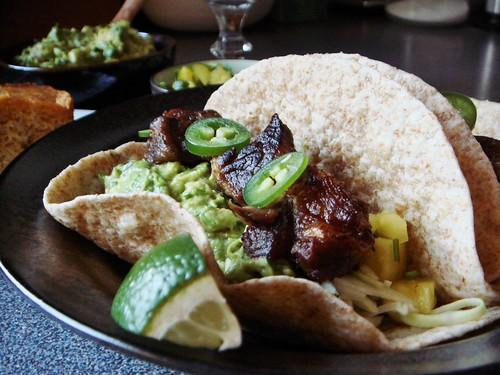 Tacos with Carnitas, Guacamole, Pineapple Salsa, Slaw
