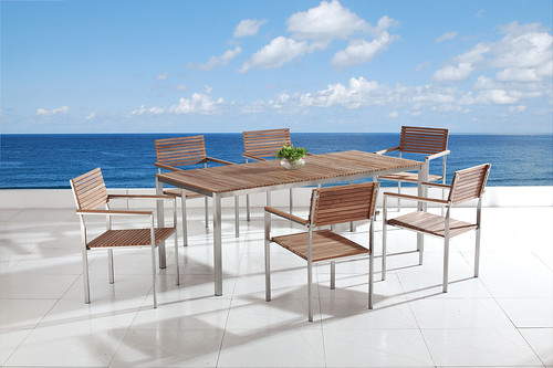 teak wood outdoor dining furniture set for patio