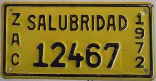 MEXICO, ZACATECAS 1972 ---SALUBRIDAD SUPPLEMENTAL LICENSE PLATE