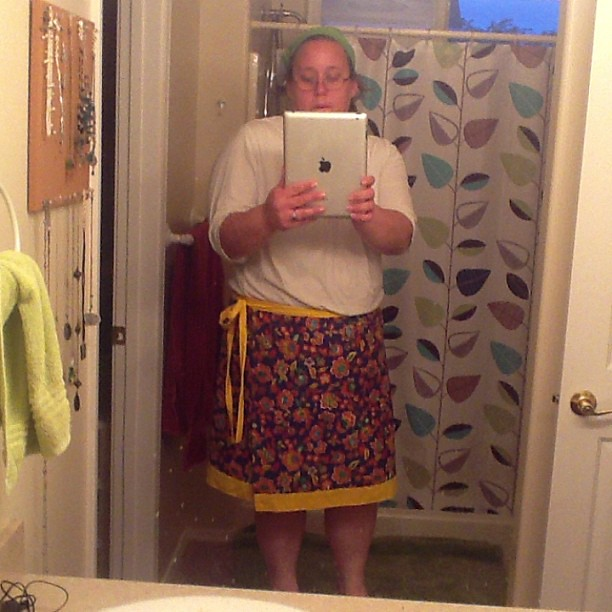 So, I made a wrap skirt for myself today.