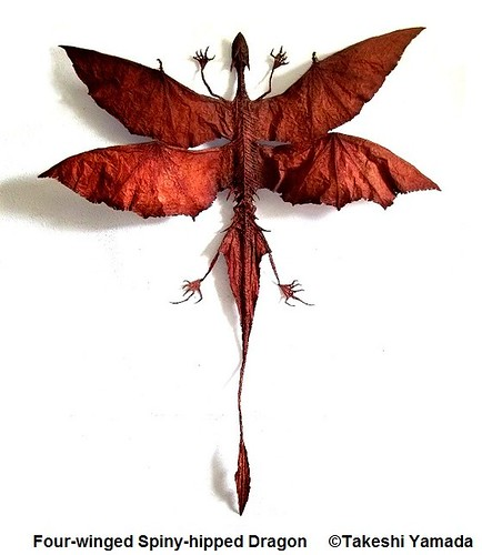 Four-winged Spiny-hipped Dragon, dragon (flying reptile), 40x31.5 inch, (dorsal view), MMXI