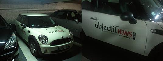Réalisation des marquages de véhicule sur des minis Cooper pour le magazine Objectifs News.