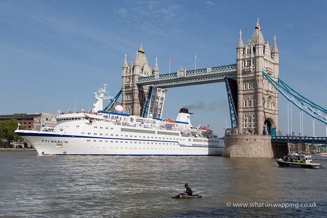FTI Berlin passes under Tower Bridge in London