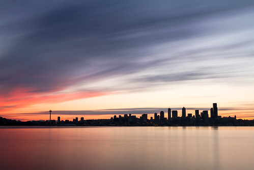 longexposure seattle sunrise pugetsound water skyline city buildings pacificnorthwest pnw canon motion blur surreal spaceneedle reflection cityscape clear day canoneos7d johnwestrock canonef2470mmf28lusm bwnd1000x washington