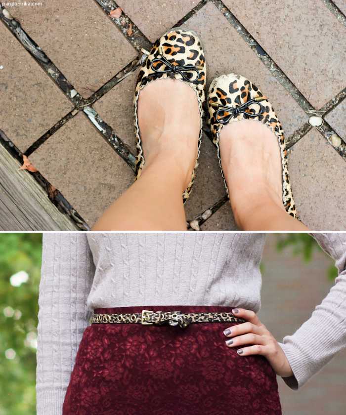 leopard print flats and skinny belt
