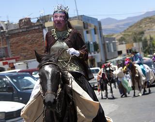 Turk transgender horsemen from El Tingo at La Fiesta de la Virgen de la Merced