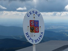 Czech Republic border sign on the top of Snezka