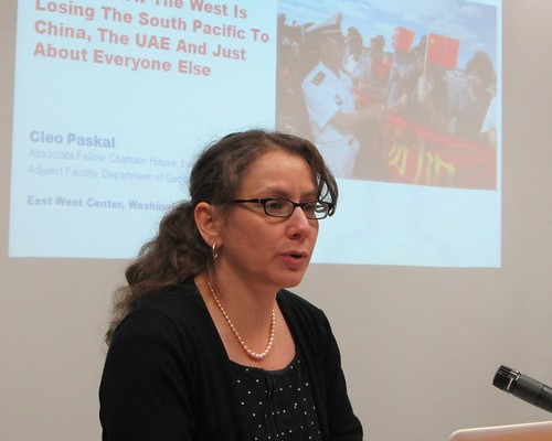 Ms. Cleo Paskal presented her insight into the new players and waning Western influence among island nations of the South Pacific in her talk at the East-West Center in Washington.