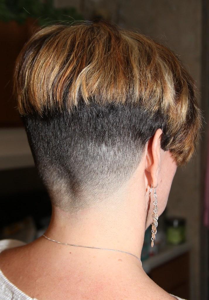 Female short hair shaved head