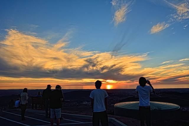 nikon nikkor 28mm 3.5 PC D800 California San Marcos two peak sunset people (colorized)