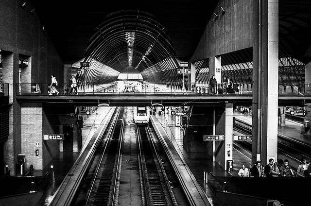 Sevilla's Santa Justa train station in black and white.