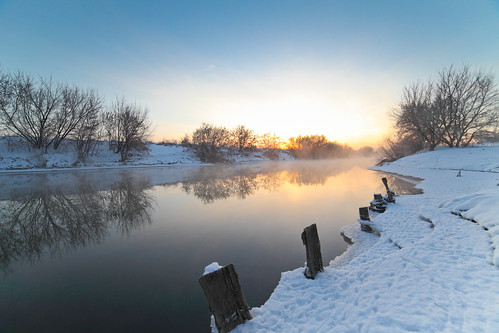 Winter  River Sunrise
