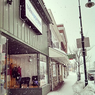 Snow, snow, snow... Who needs yarn? The shop is dead. #snowing #newengland #winterwonderland #downtown #yarnshop #yarn #YarnAndFiberCo #knitting #knitstagram