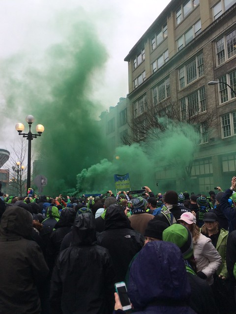 The Seattle Sounders FC march to the stadium