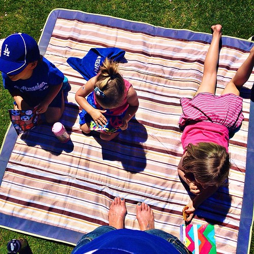 Soaking up the sun... Having some snacks... Watching Kershaw warm up... It's almost game time!