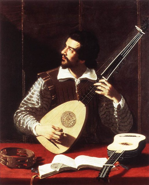 The Theorbo Player by Antiveduto Grammatica (1571–1626). A guitar rests on the table waiting to be played.