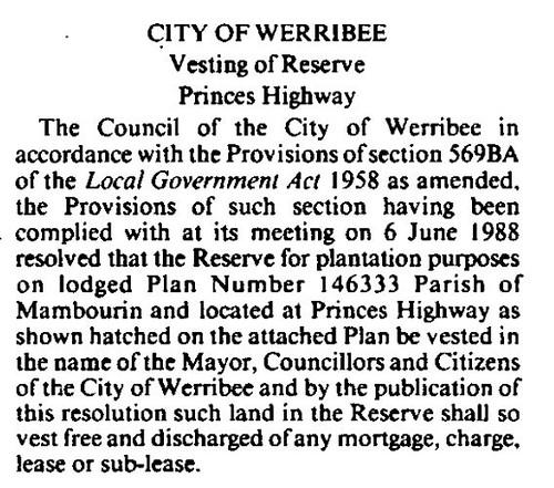 Anne st reserve gov gaz 1988 p1814a