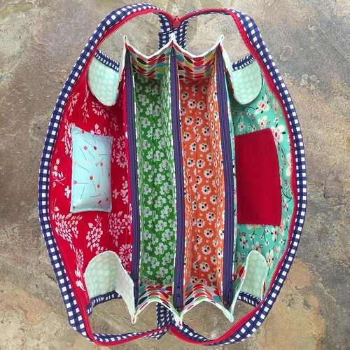 Rainbow hexie sew together bag interior