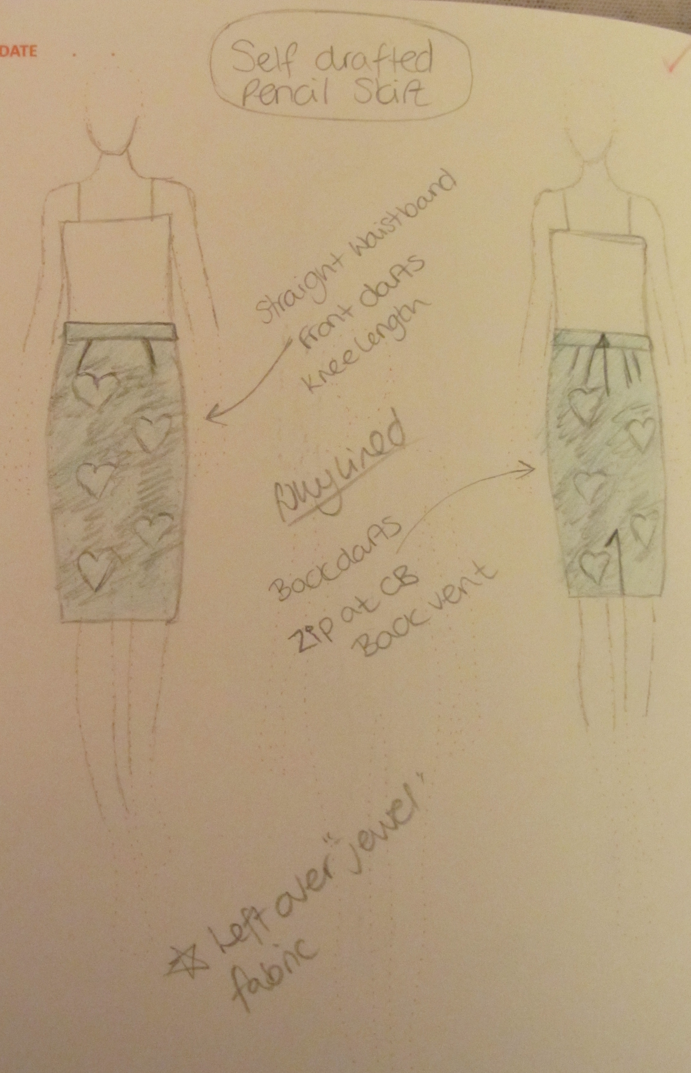 Self drafted pencil skirt sketch