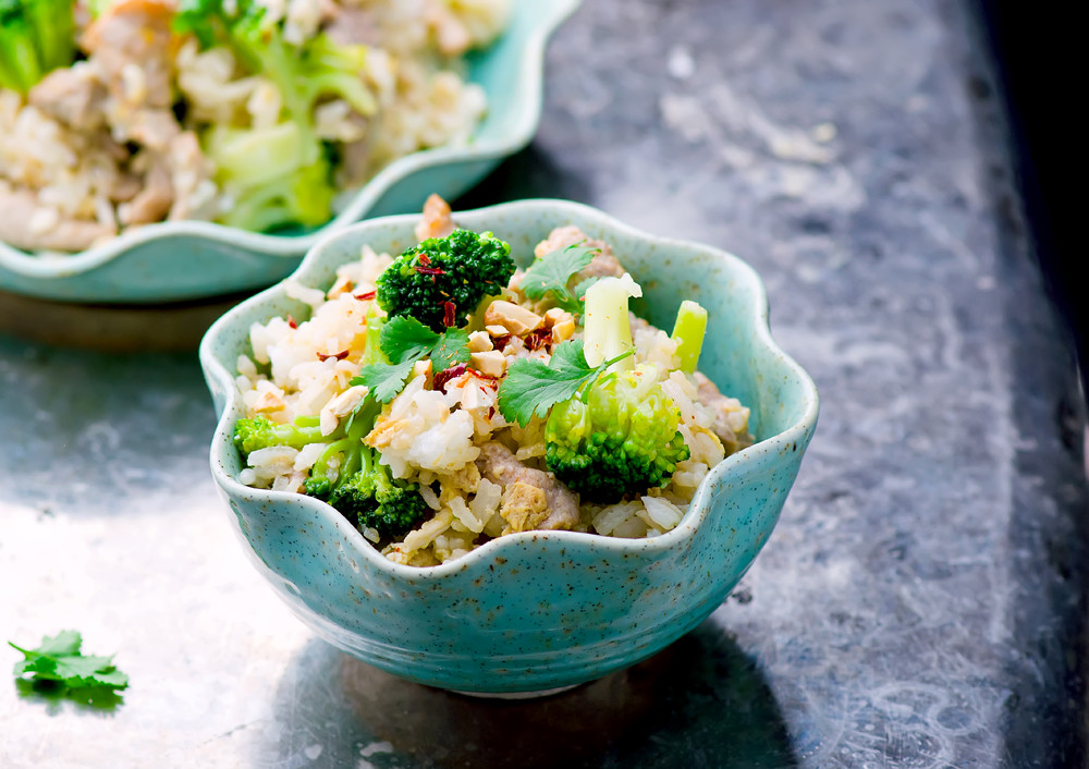 fried rice with pork, vegetables and eggs.
