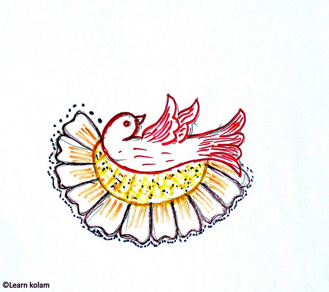 Easy bird kolam