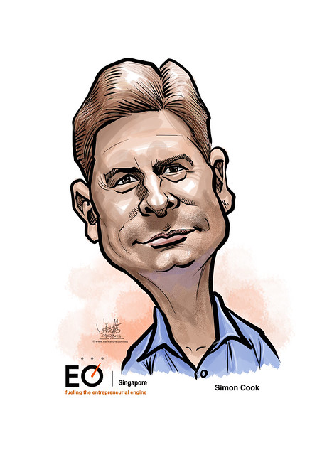 digital caricature for EO Singapore - Simon Cook