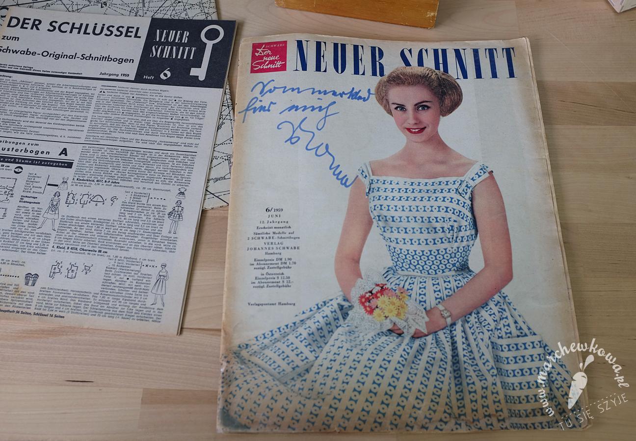 Neuer Schnitt 6/1959, szycie, krawiectwo, sewing, retro, vintage, sukienki, suknie ślubne, stroję kąpielowe, magazyn, gazeta, wydanie
