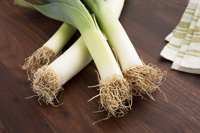leeks with roots