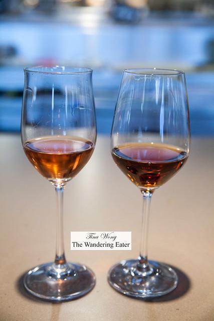 "Adelsheim, 2012 Pinot Noir 'Deglace' (left) and Lustau Almacenista Oloroso ""Pata de Gallina"" sherry (right)"