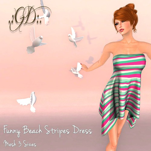 ._GD_. Funny Beach Stripes Dress ._Glow Designs_.