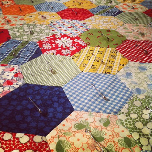 Pinned and ready for quilting #straightlines #hexagonquilt #babyquilt