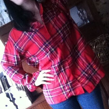 Equipment plaid blouse from tag sale in Great Neck