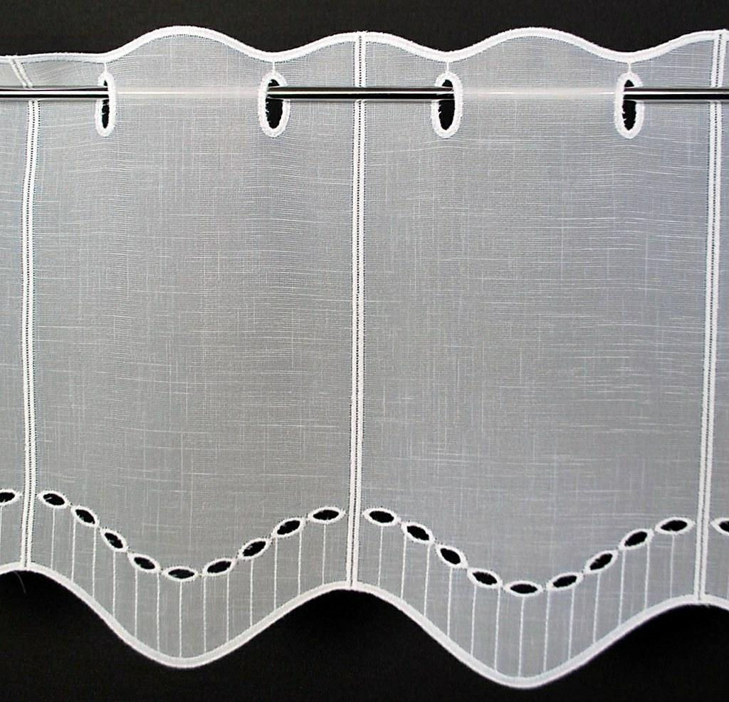 16 cm breite scheibengardine lochstickerei k seleinenoptik. Black Bedroom Furniture Sets. Home Design Ideas