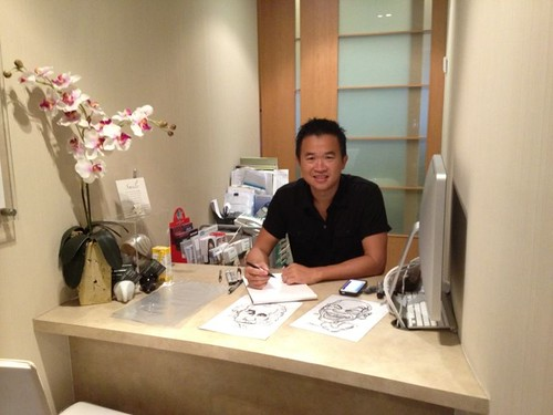 caricature live sketching for Miss Universe Singapore 2013