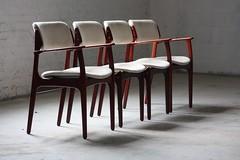Intense Danish Mid Century Modern Rosewood Erik Buck #49 &amp #50 Dining Chairs (O.D. Mobler, Denmark, 1960's)