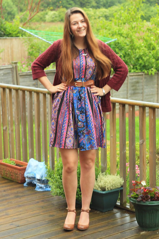 OOTD, outfit of the day, cardigan, ASOS smock dress, ASOS heels