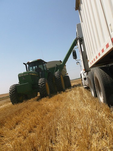 Grain cart lining up to unload